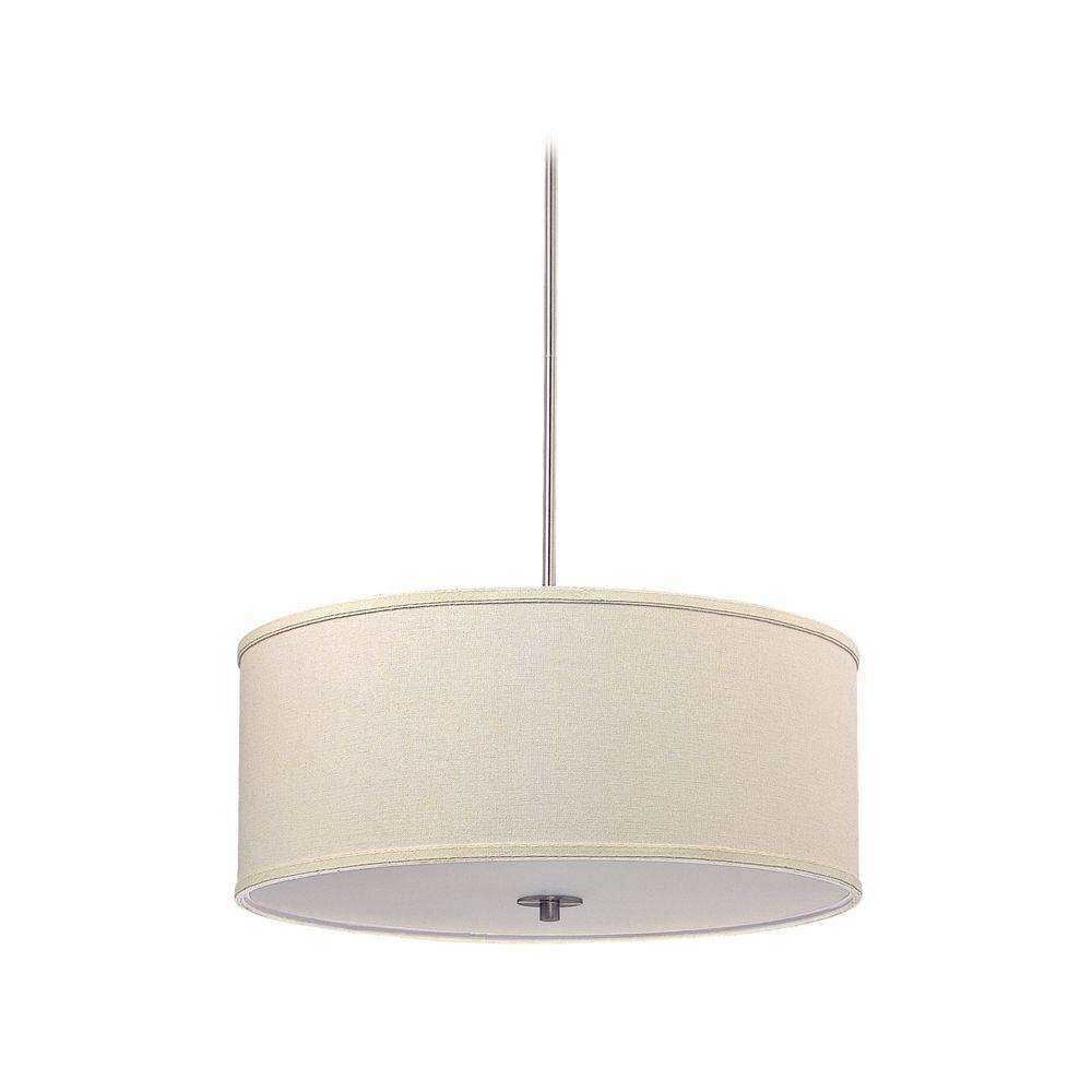 Large modern drum shade pendant light in satin nickel finish dcl large modern drum shade pendant light in satin nickel finish off aloadofball Images