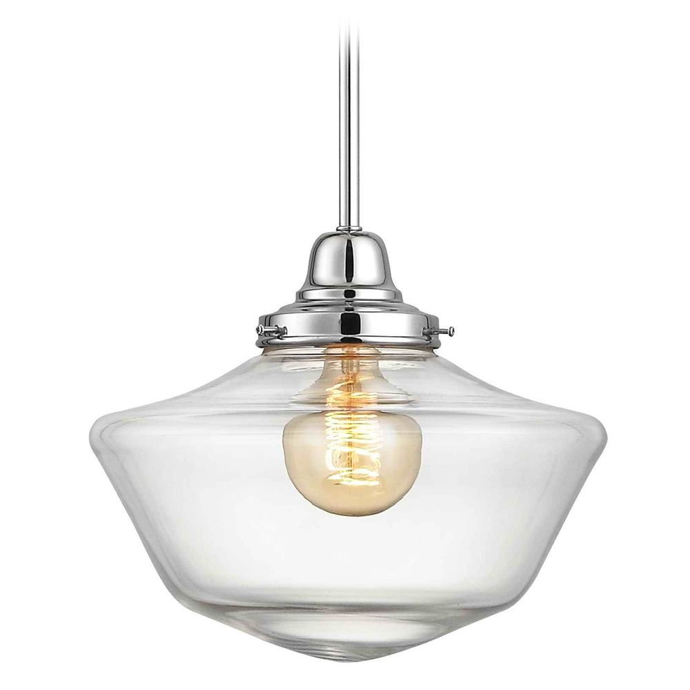 12 inch clear glass schoolhouse pendant light in chrome finish fb4 12 inch clear glass schoolhouse pendant light in chrome finish alt2 aloadofball Gallery