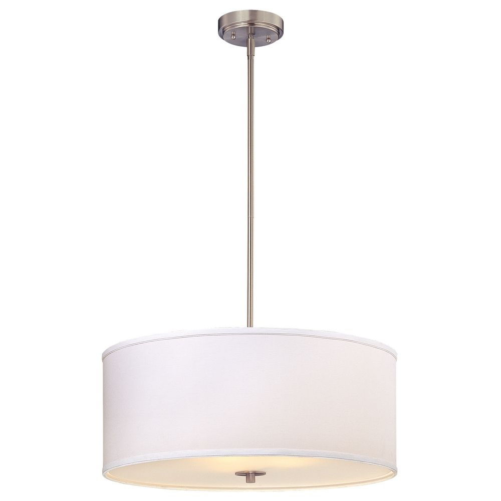 Large Modern Drum Pendant Light With White Shade Ebay