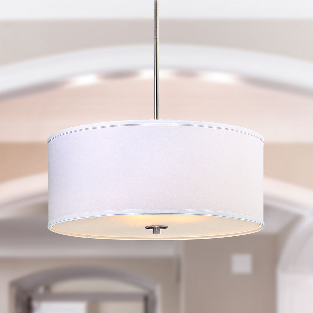 Large Modern Drum Pendant Light With