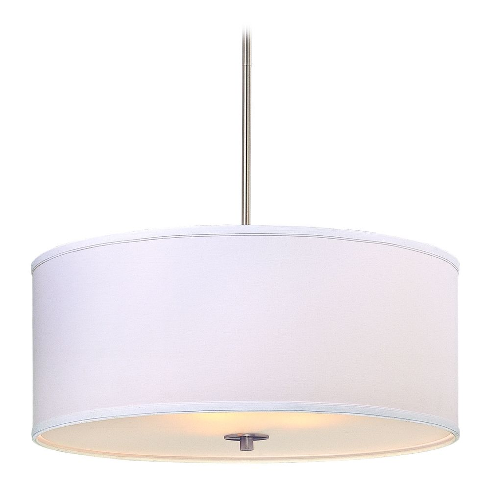Design Clics Lighting Large Modern Drum Pendant Light With White Shade Dcl 6528 09 Sh7517