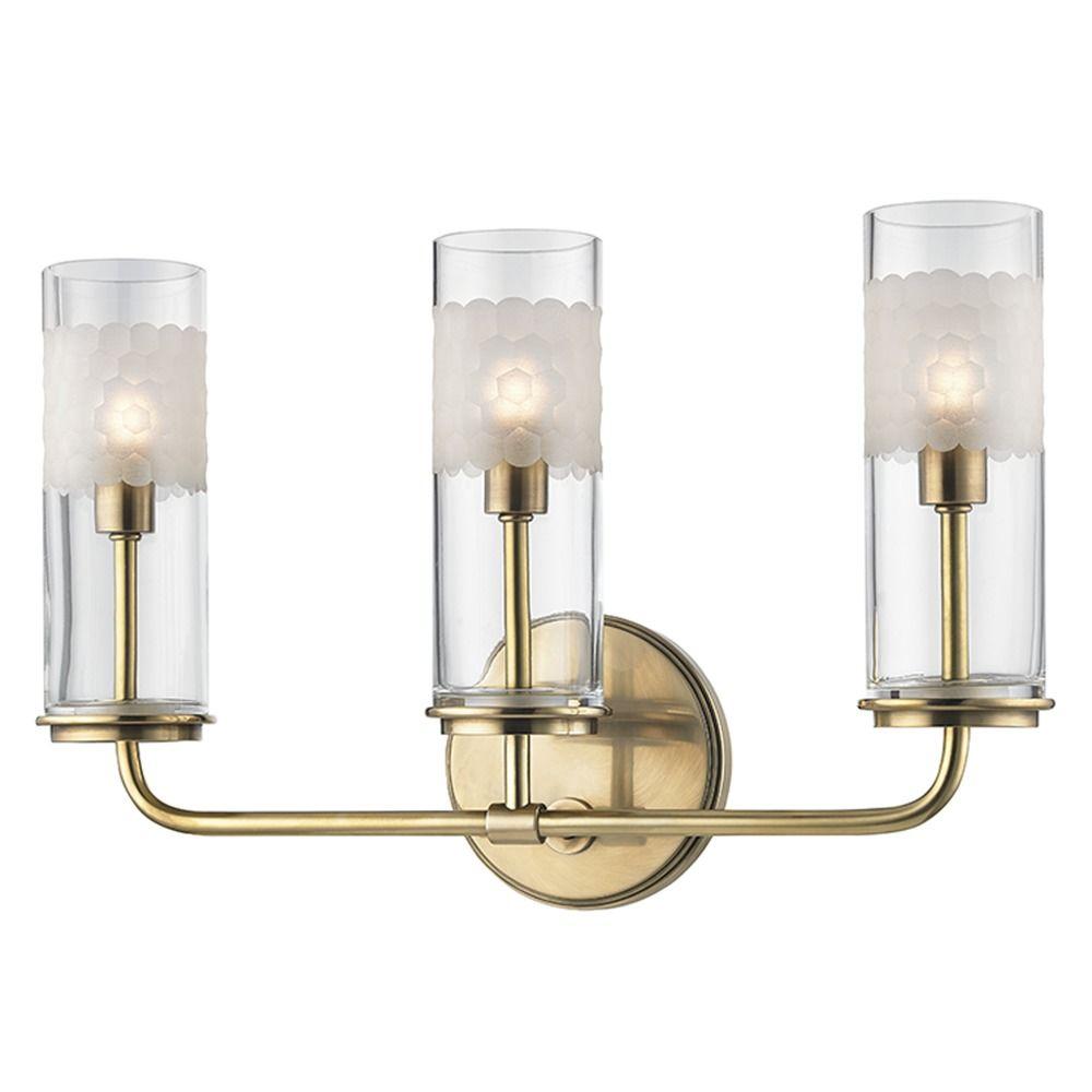 New Livex Lighting 3Light Belmont Antique Brass Bathroom Vanity Light