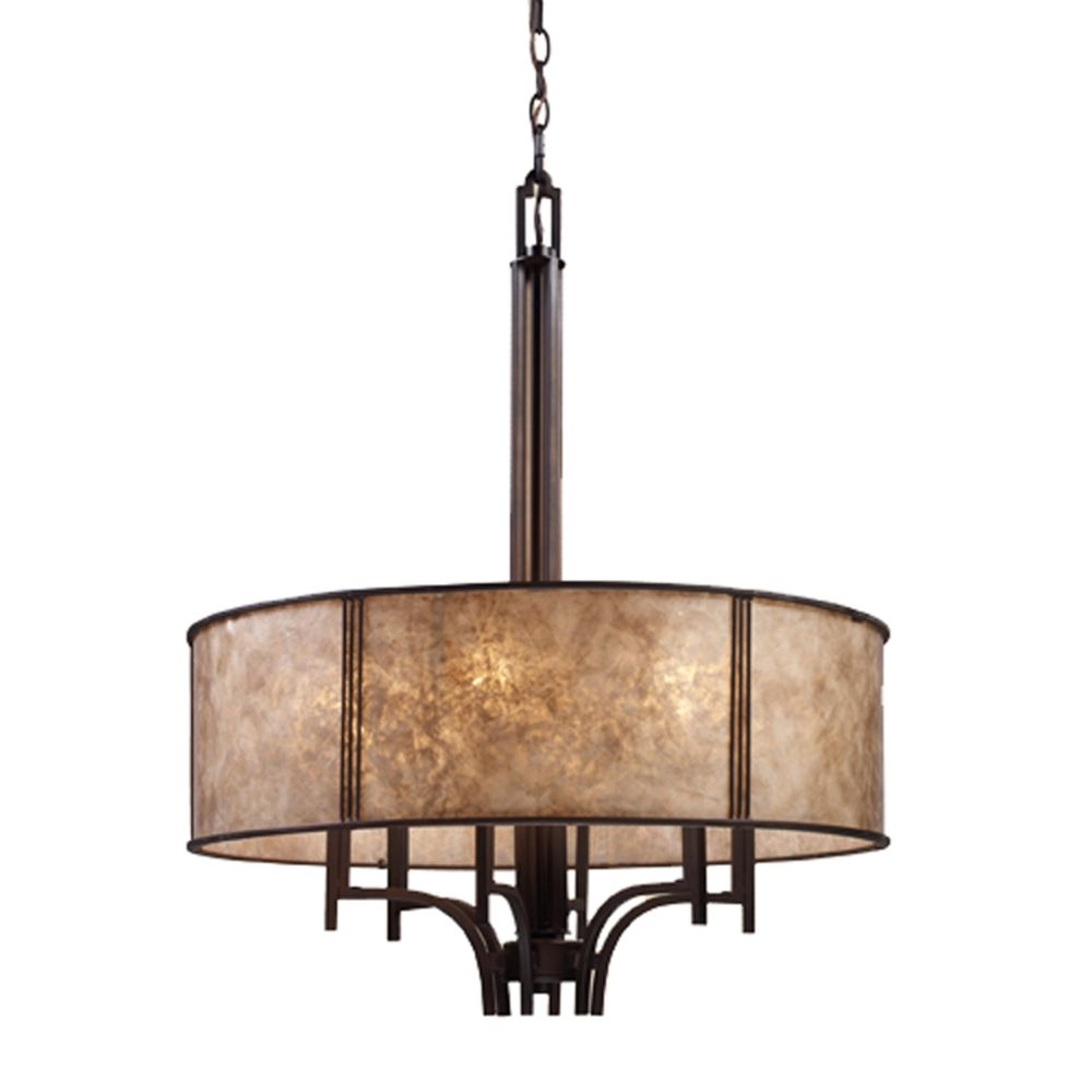 Six light chandelier with mica drum shade 150346 destination elk lighting six light chandelier with mica drum shade 150346 arubaitofo Choice Image