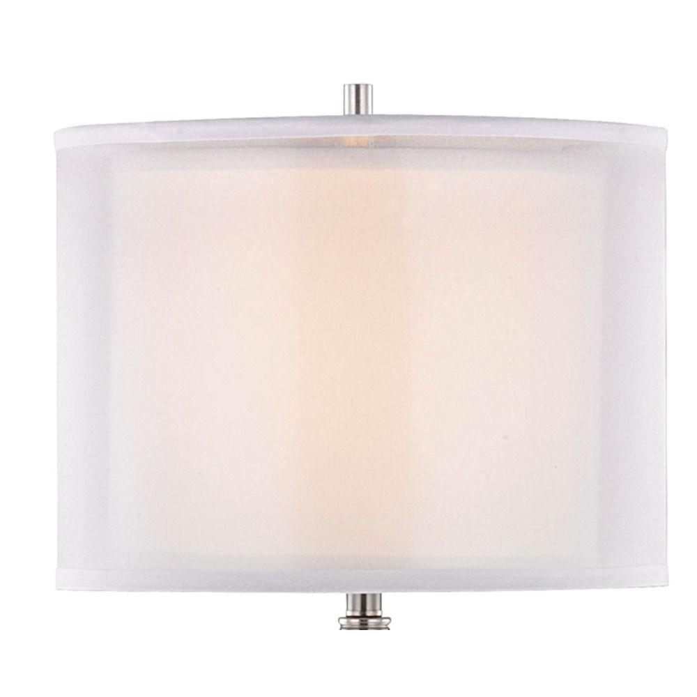 Double organza 3way floor lamp with drum shade satin nickel 15060 double organza 3way floor lamp with drum shade satin nickel alt1 aloadofball Choice Image