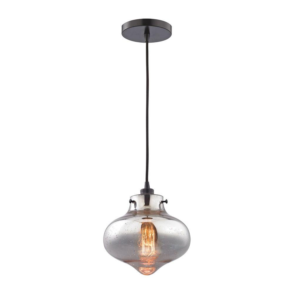 Elk Lighting Schoolhouse Pendant: Mercury Glass Mini-Pendant Light Oil Rubbed Bronze Elk