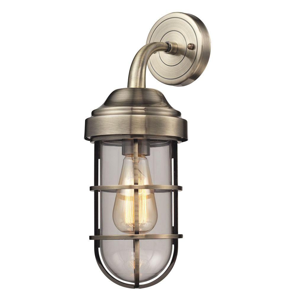 Elk Lighting Sconce: Elk Lighting Seaport Antique Brass Sconce