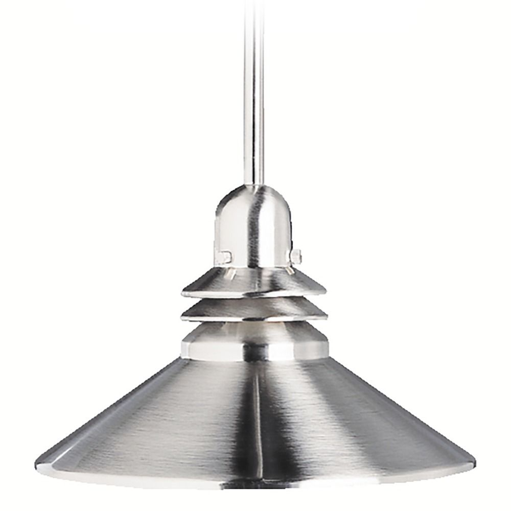 kichler brushed nickel pendant with metal shade with led bulb 2714ni