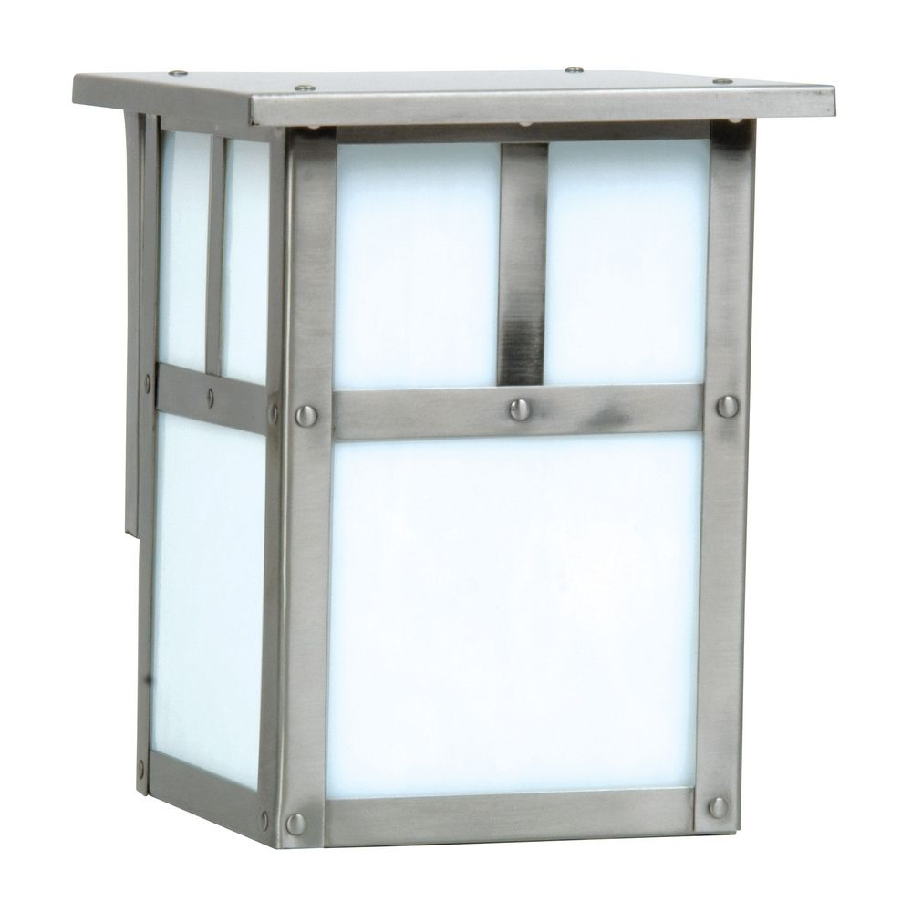 Mission Style Outdoor Wall Light With Frosted White Glass