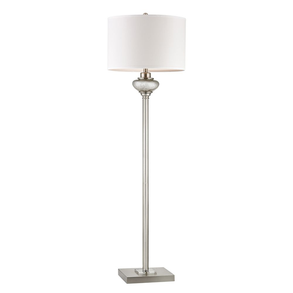 Dimond Lighting Floor Lamp with White Shades in Antique Silver Mercury Glass  with Crystal Accents Finish - Floor Lamp With White Shades In Antique Silver Mercury Glass With