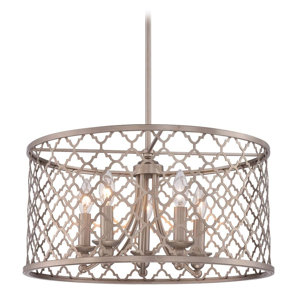 Minka Champagne Gold Pendant Light With Drum Shade