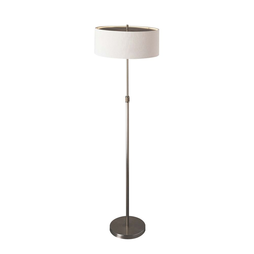 Modern Floor Lamp With White Shades In Brushed Nickel