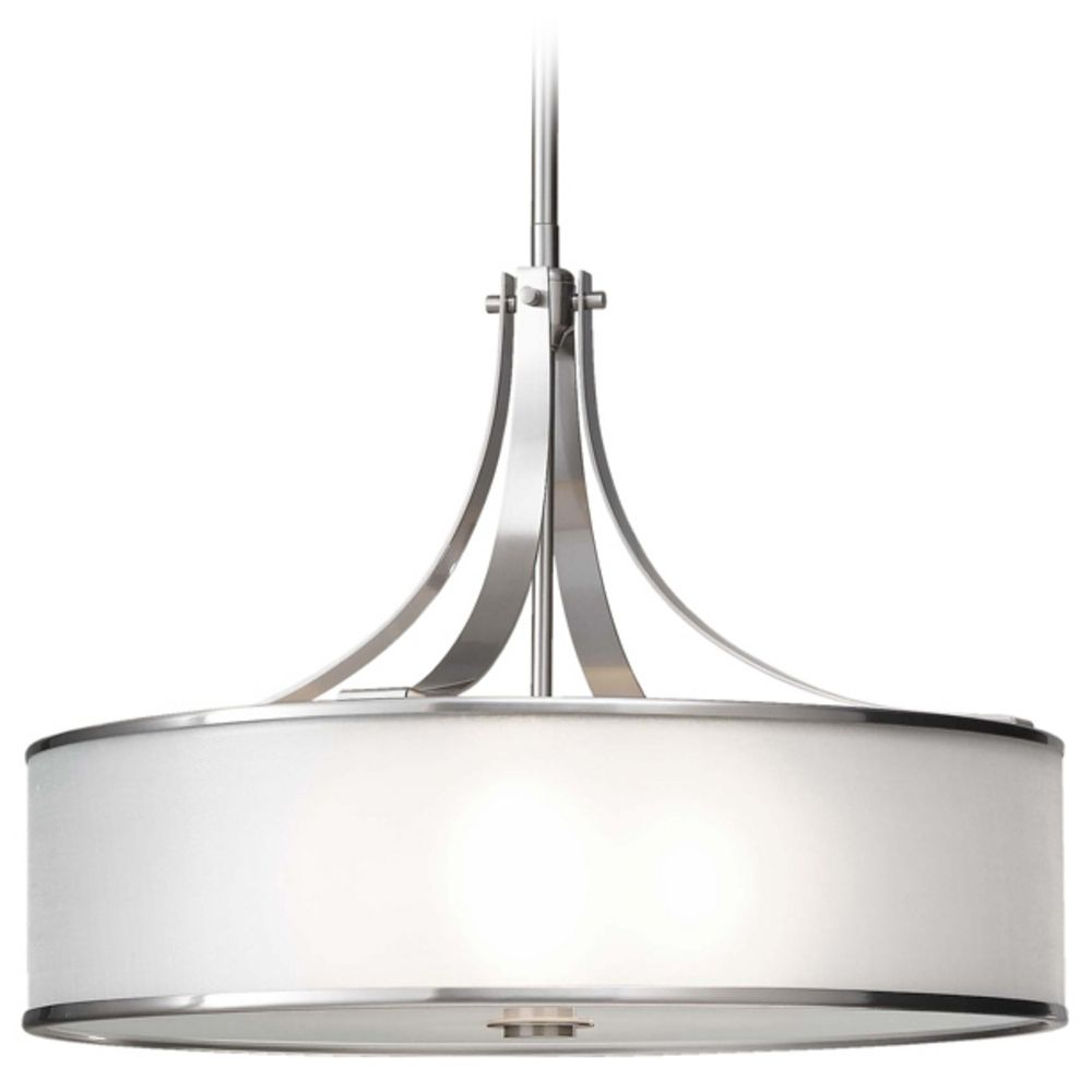 drum pendant light with silver shade in brushed steel finish