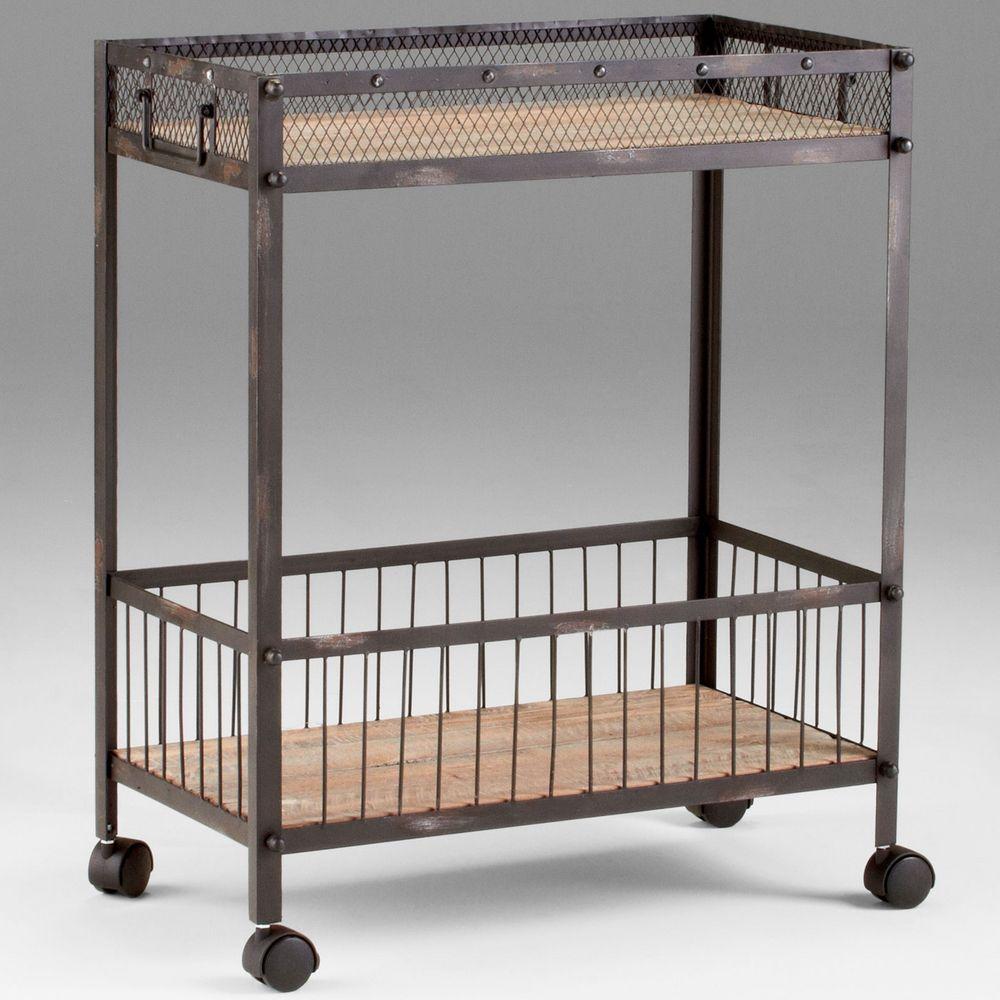 Cyan Design Desmond Cart X 07840: Cyan Design Desmond Raw Iron & Natural Wood Cabinets