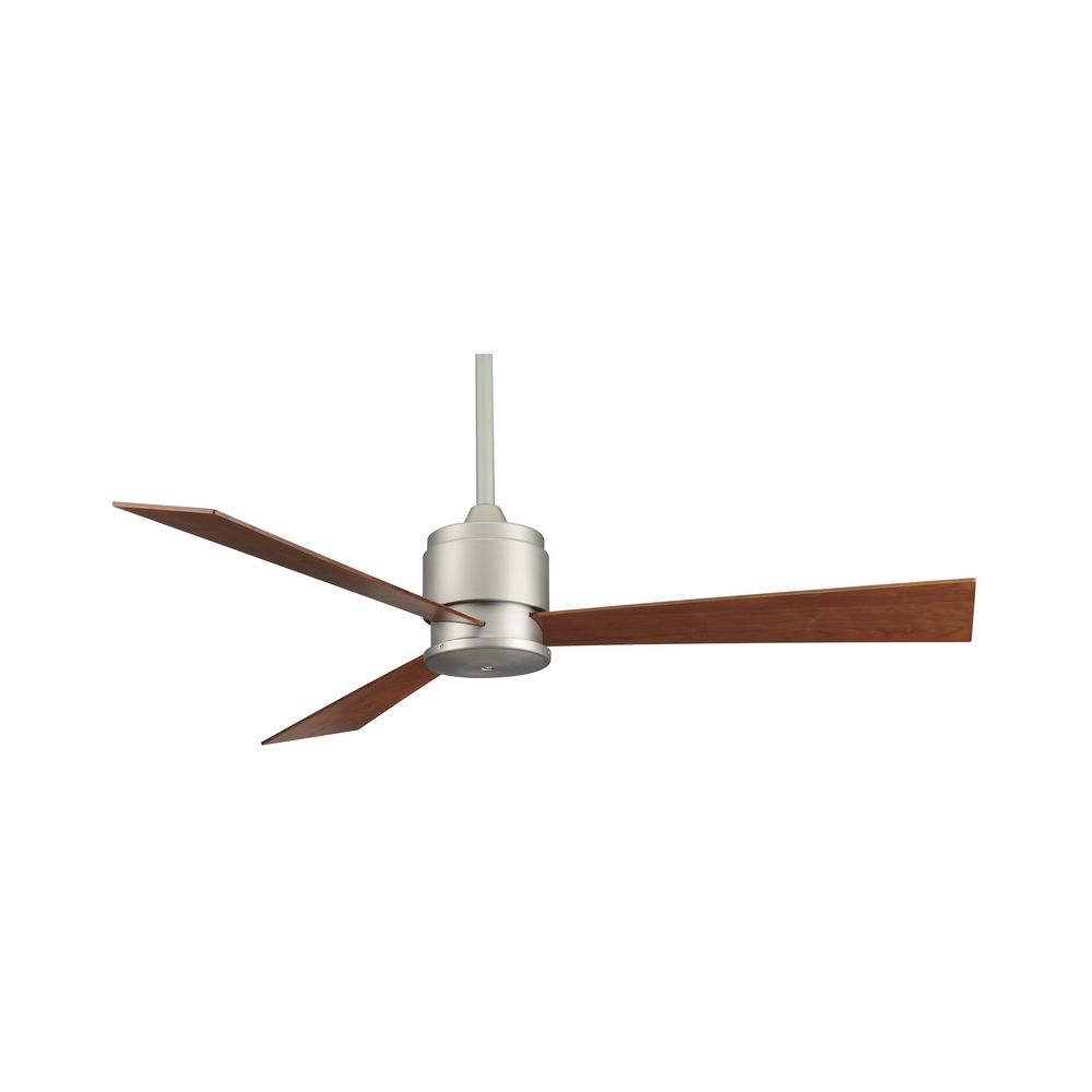 Modern Ceiling Fan Without Light In Satin Nickel Finish