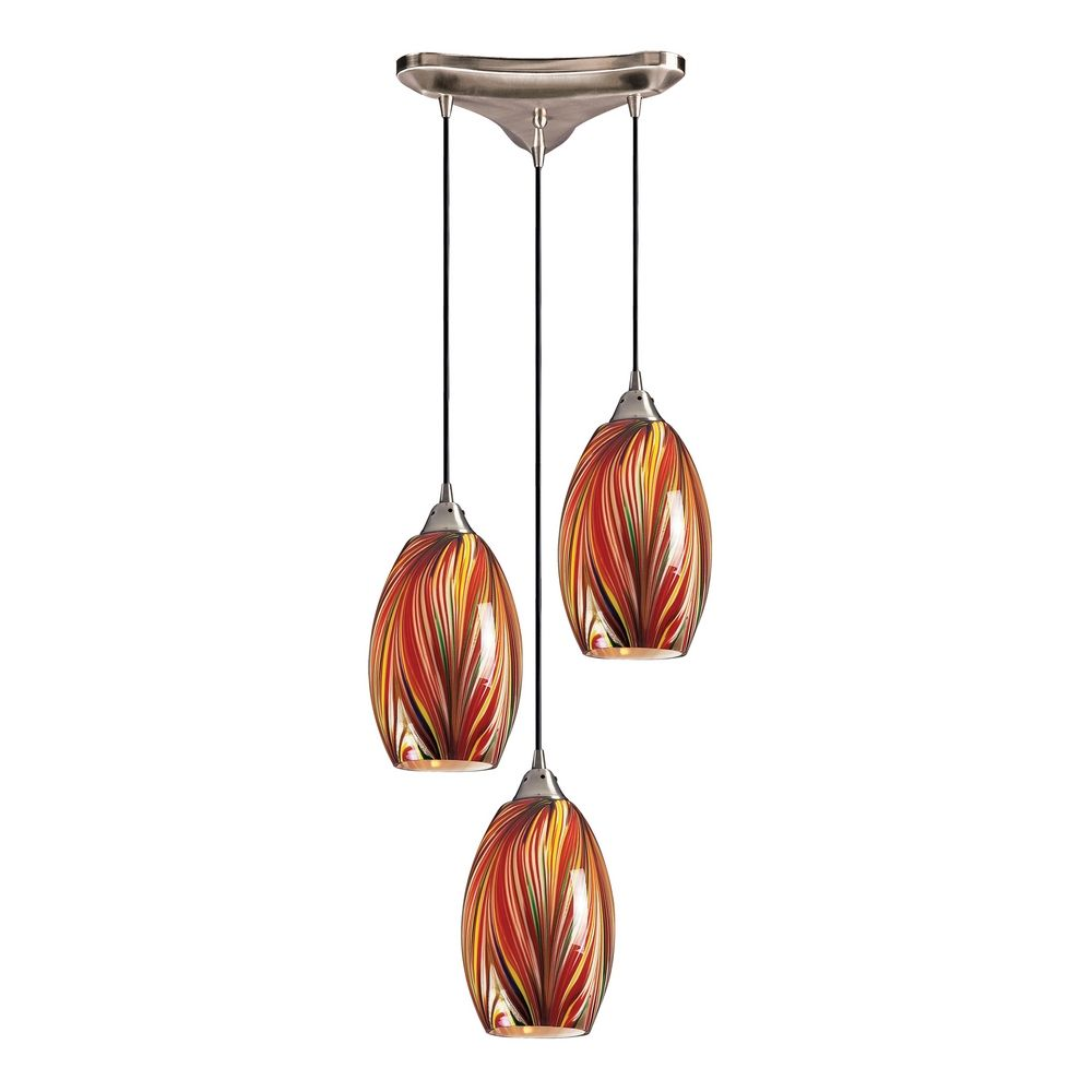 modern multi light pendant light with multi color glass