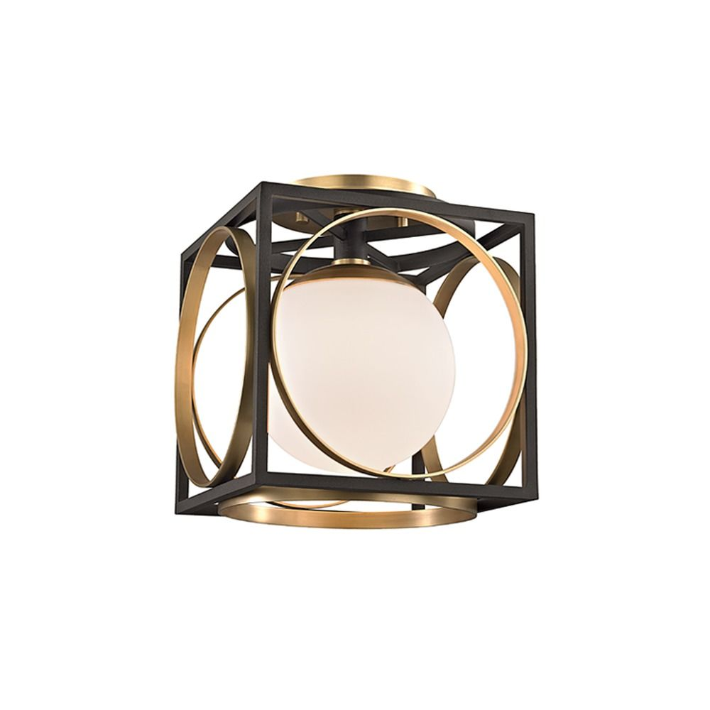 Mid Century Modern Semi Flushmount Light Brass Wadsworth