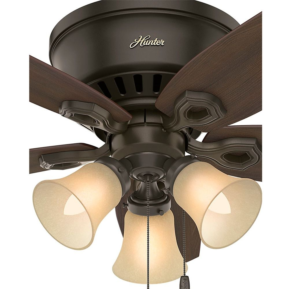 42 Inch Hunter Fan Builder Low Profile Ceiling With Light New Bronze Finish Alt3