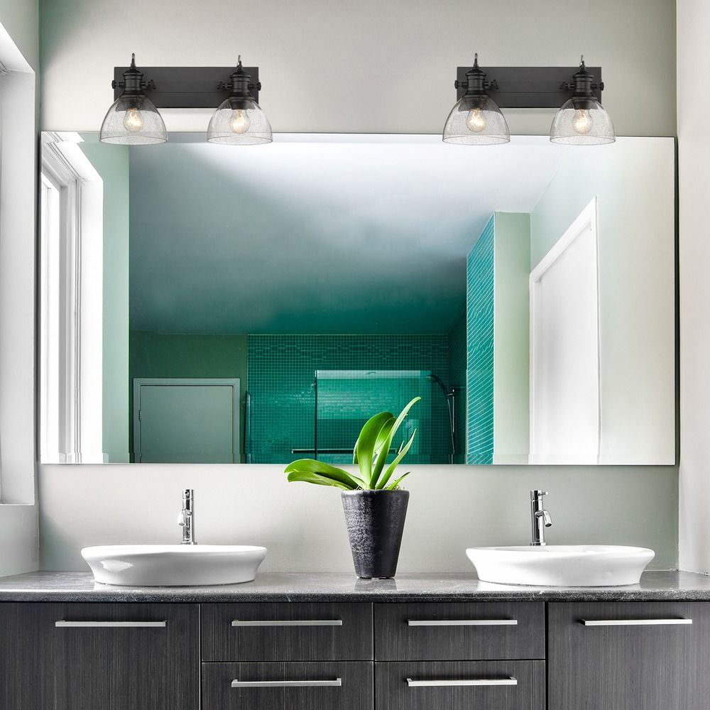 Hines 2 Light Bath Vanity in Black with Seeded Glass | 3118-BA2BLK ...