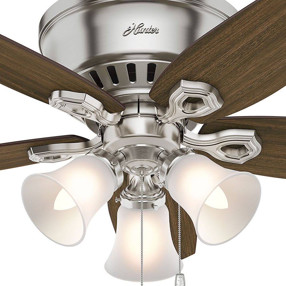 42 Inch Hunter Fan Builder Low Profile Ceiling With Light Brushed Nickel Finish Alt3