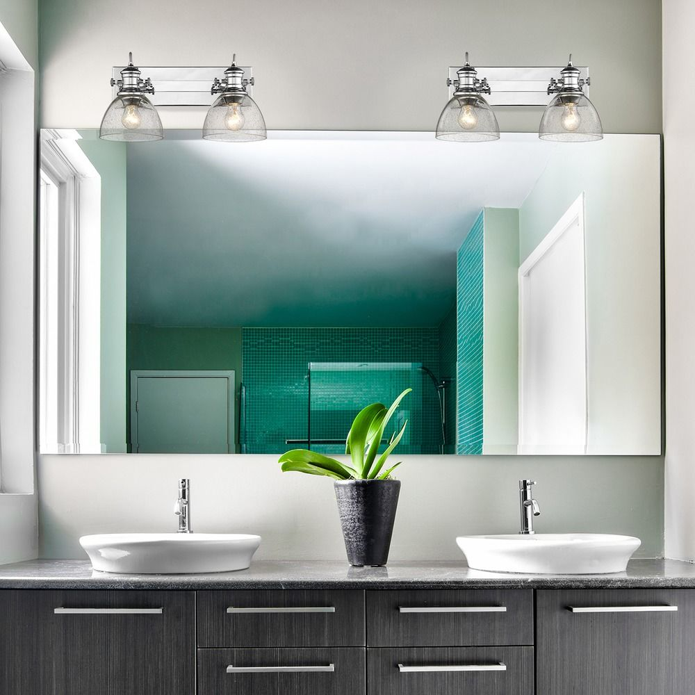 Hines 2 Light Bath Vanity in Chrome with Seeded Glass | 3118-BA2CH ...