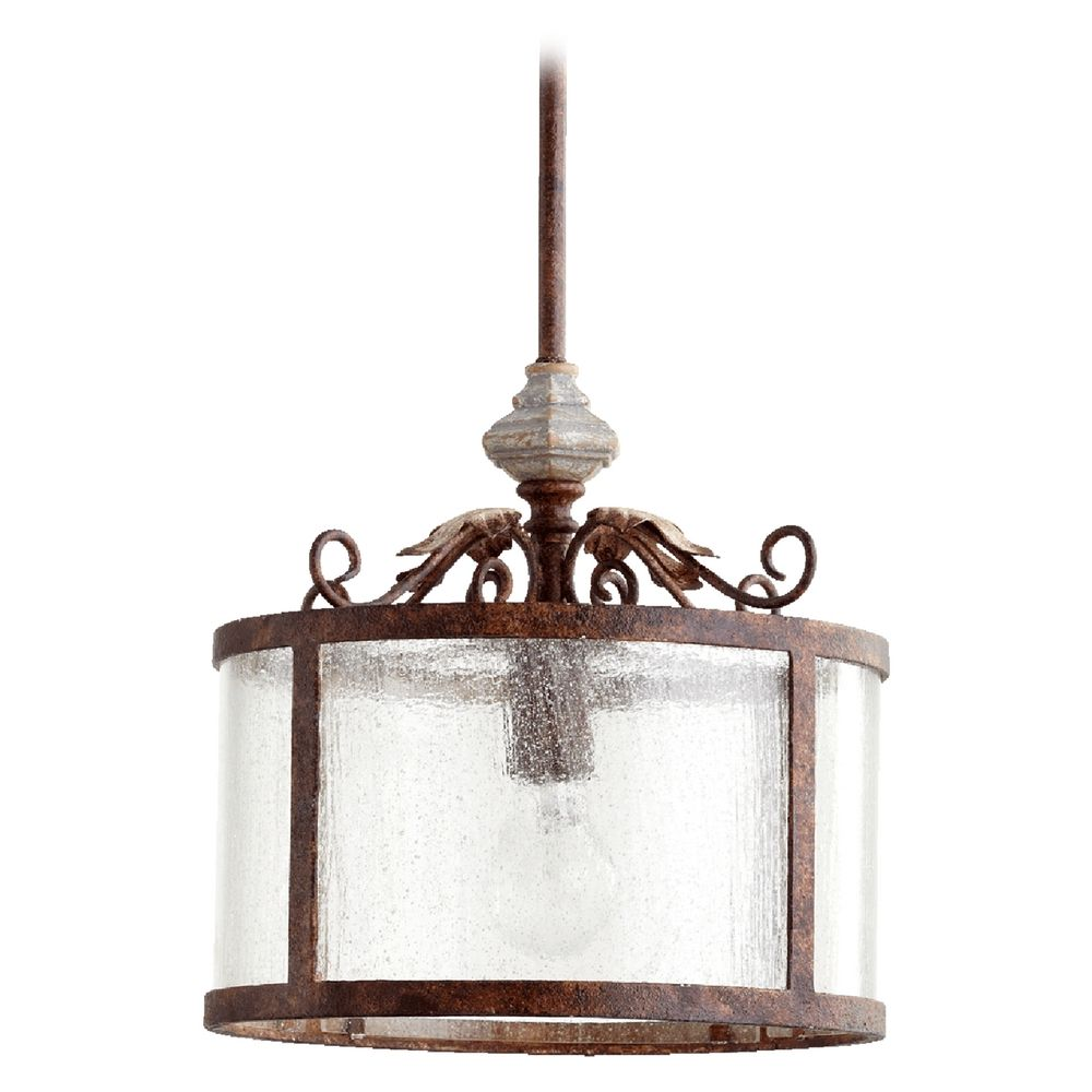Quorum Track Lighting: Seeded Glass Pendant Light Manchester Grey W/ Rust Accents
