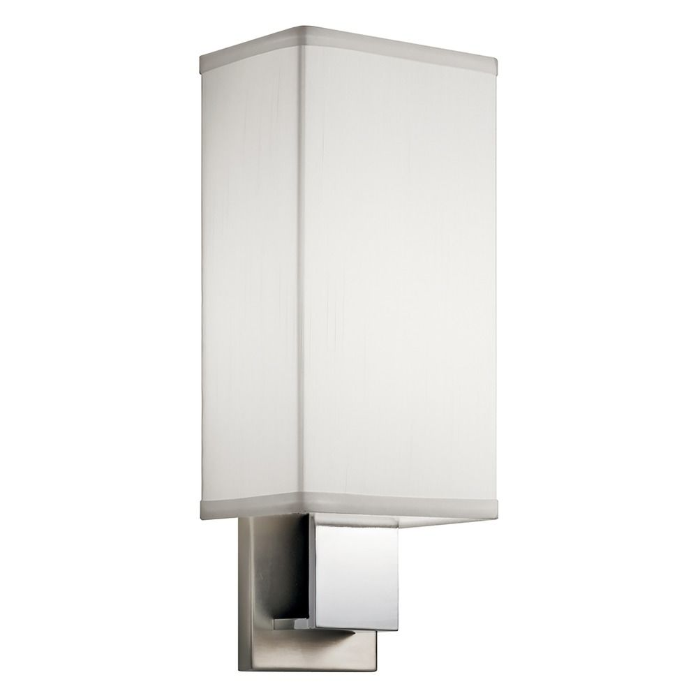 Rectangular Lamp Shades For Wall Lights : Kichler Sconce Wall Light with Rectangle White Shade 10438NCH Destination Lighting