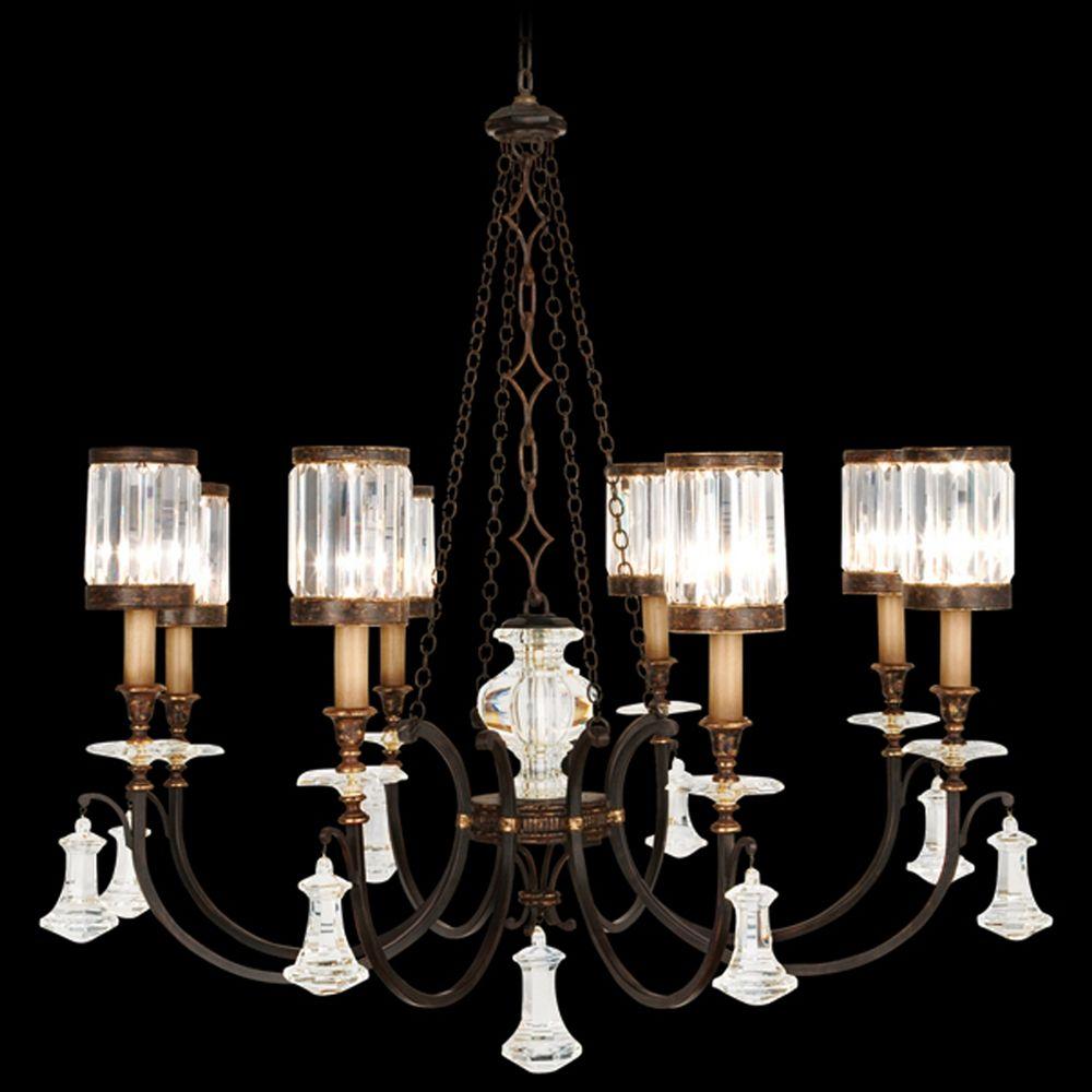 Fine Art Lamps Eaton Place Rustic Iron Crystal Chandelier 585240ST Destin