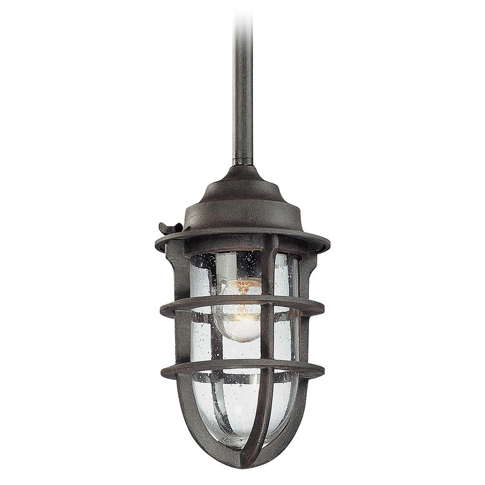 Outdoor Hanging Light With Clear Glass In Nautical Rust Finish F1860NR De