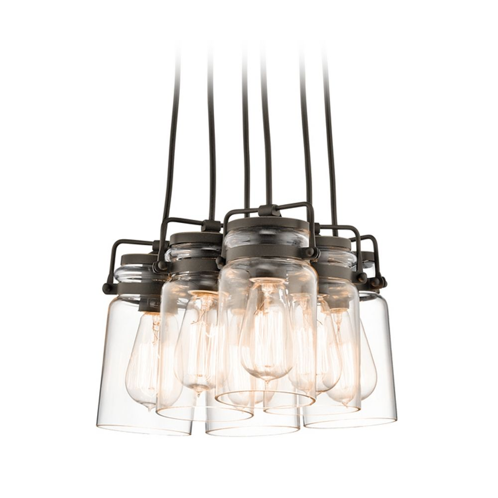 Kichler Lighting Brinley Olde Bronze Multi Light Pendant With Cylindrical Shade 42877oz