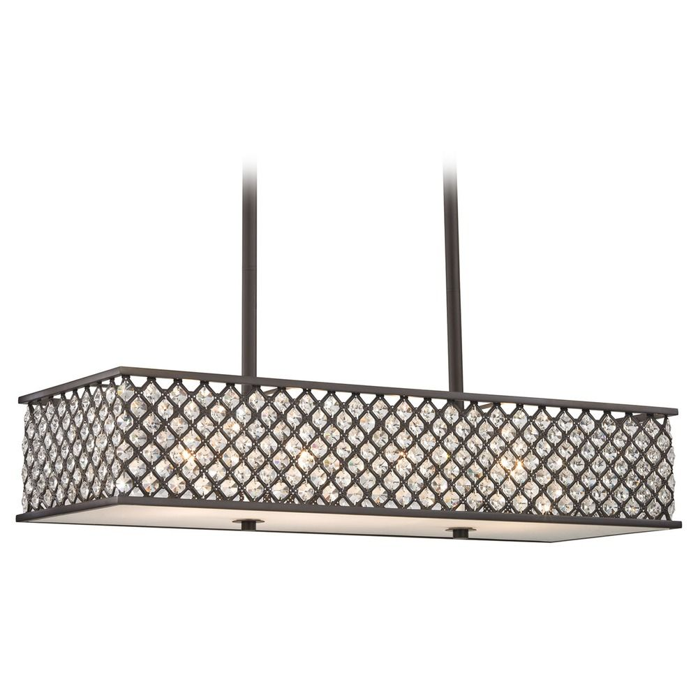 Elk Lighting Genevieve Oil Rubbed Bronze Island Light With Rectangle Shade At Destination