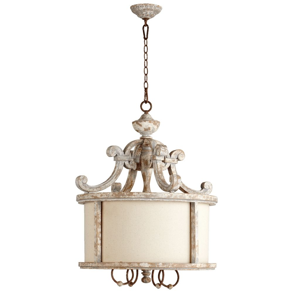 quorum lighting la maison manchester grey w rust accents pendant