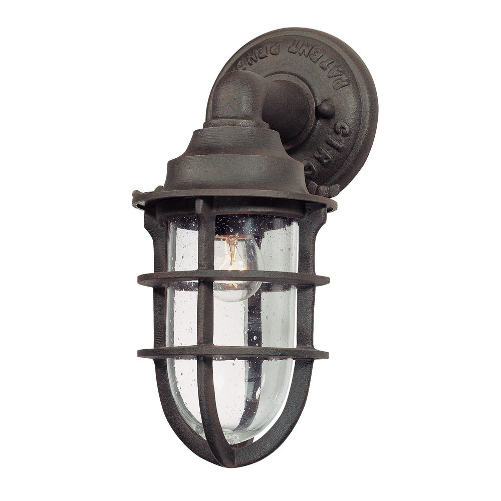 Seeded glass outdoor wall light nautical rust troy for Industrial outdoor lighting
