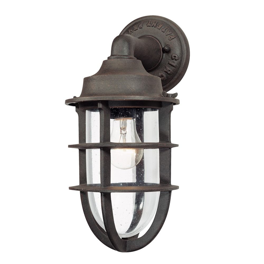 Nautical Outdoor Wall Sconces : Outdoor Wall Light with Clear Glass in Nautical Rust Finish B1866NR Destination Lighting