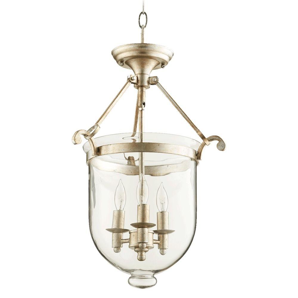 Quorum Track Lighting: Quorum Lighting Aged Silver Leaf Pendant Light With Bell