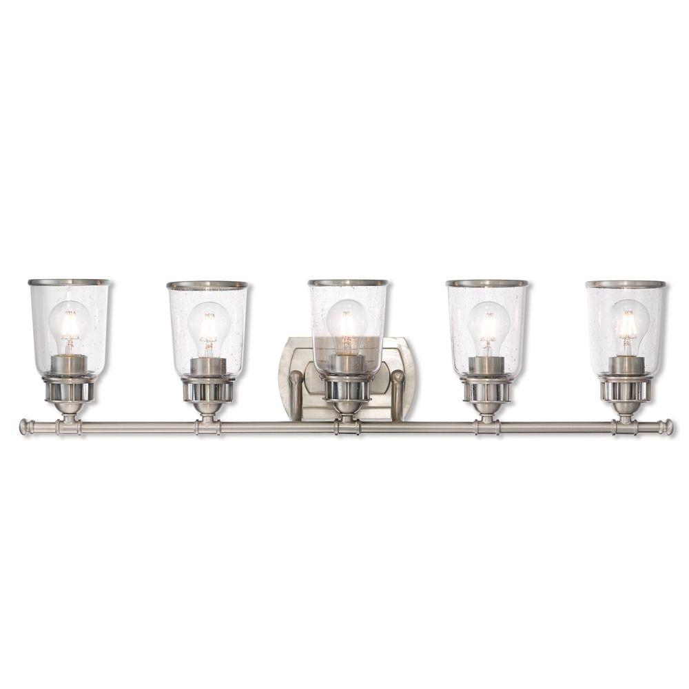 Seeded Glass Bathroom Light Brushed Nickel Livex Lighting 10515 91 Destination Lighting