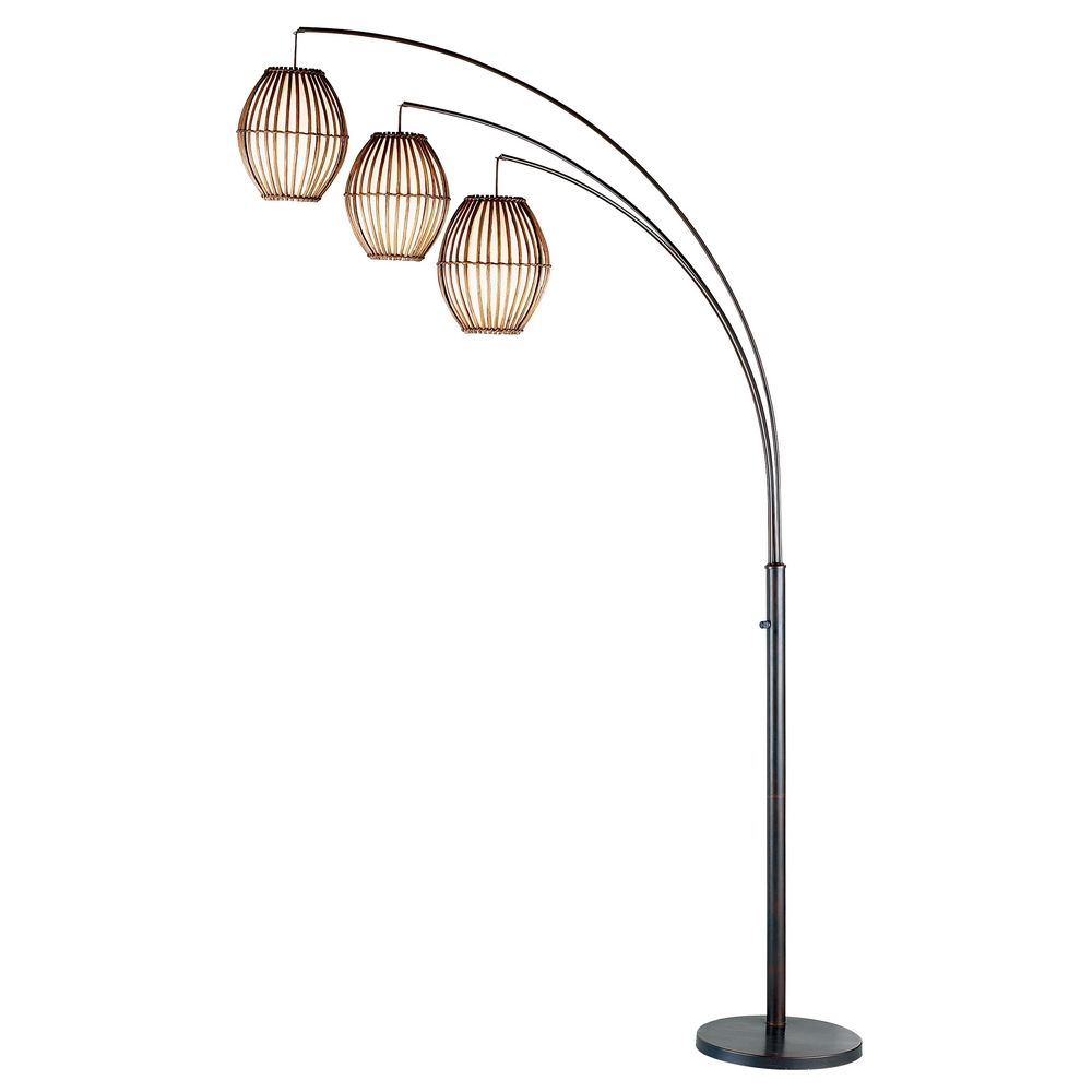 Adesso Maui Modern Arc Lamp In Antique Bronze Finish