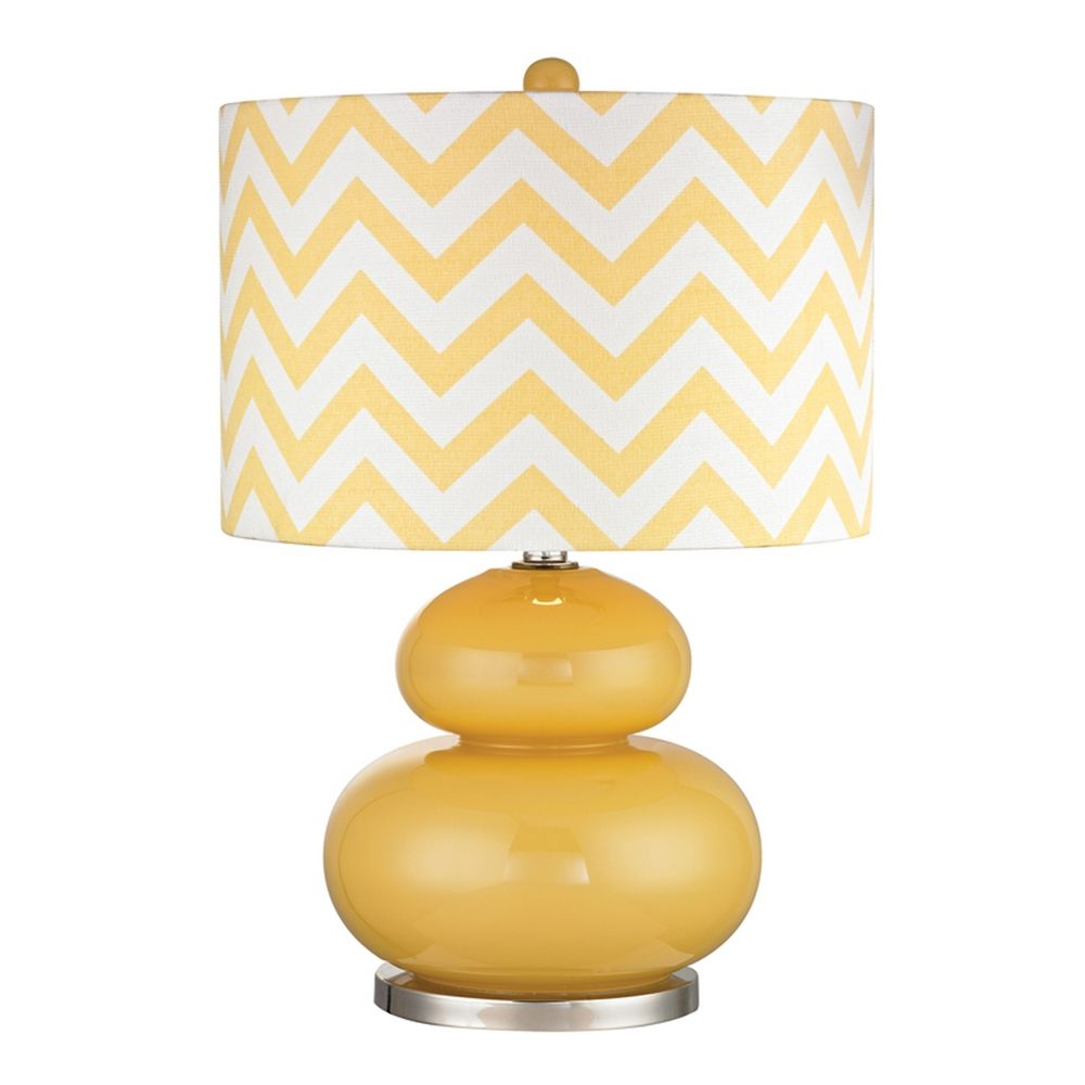 Beau Dimond Lighting Yellow Table Lamp With Chevron Drum Shade D2501 LED