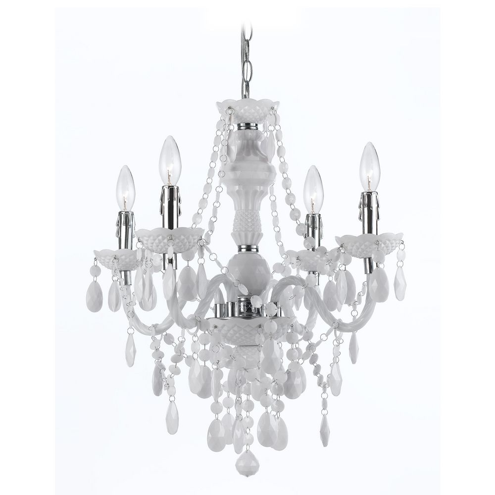 Plug In Mini Chandelier With Swag Kit In White Finish