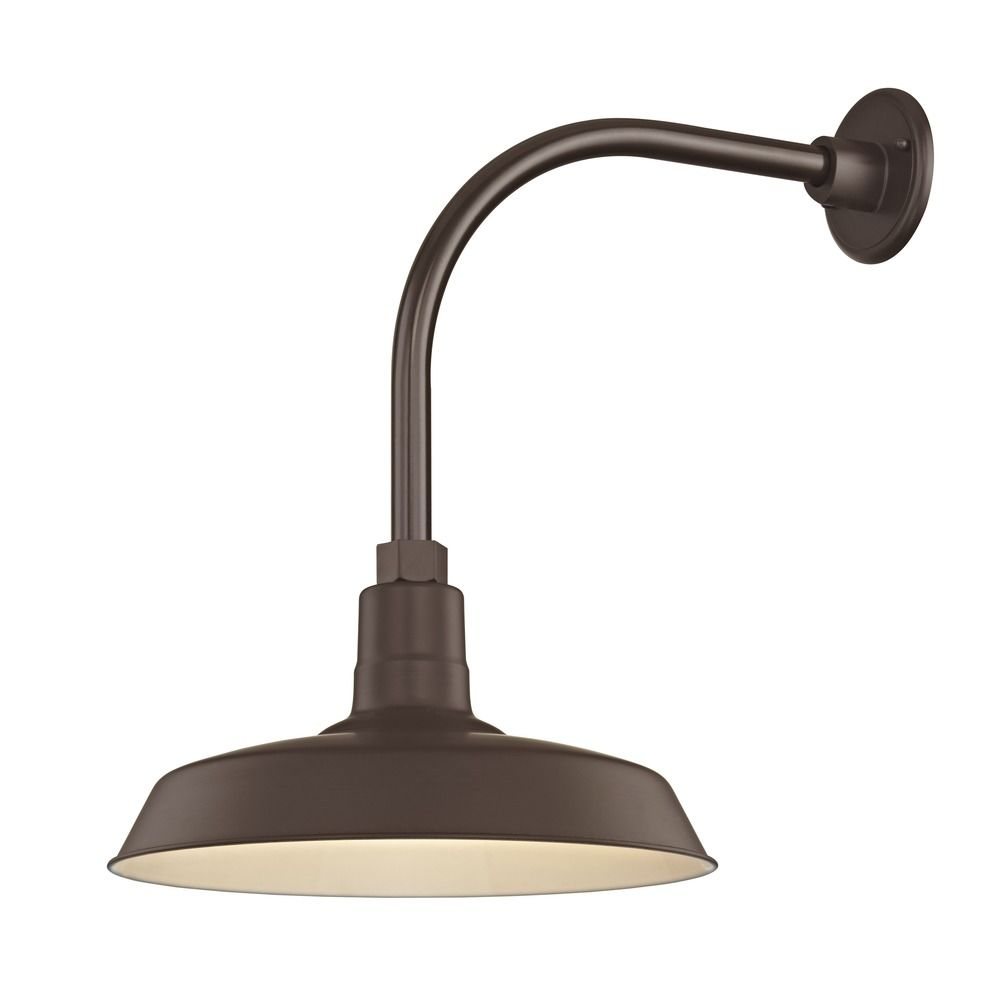 Bronze Outdoor Barn Wall Light With Gooseneck Arm And 14 Shade Bl Arml Bz Bl Sh14 Bz