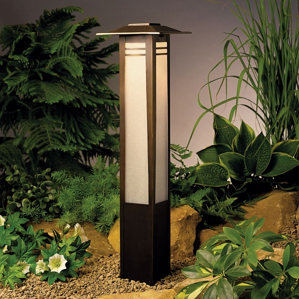 Kichler low voltage bollard path light 15392oz for Outside path lights