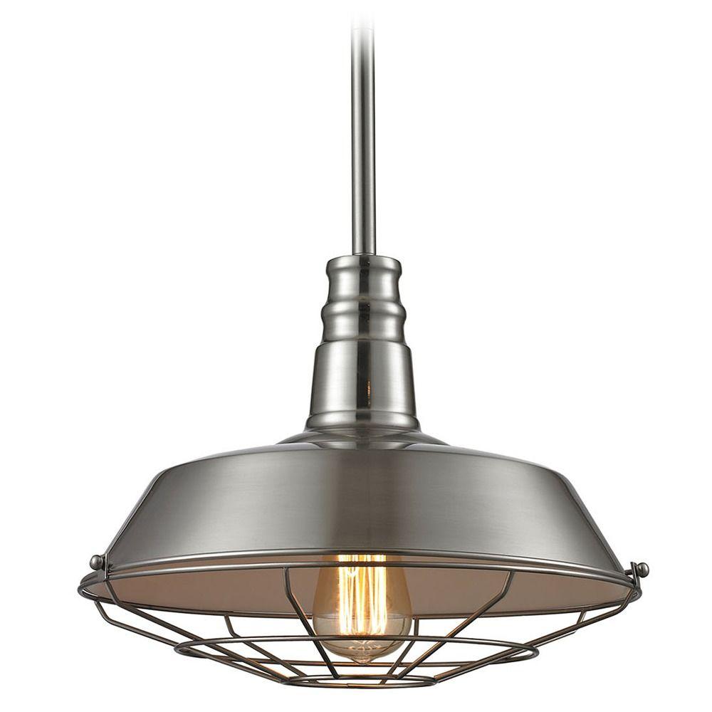 Elk Lighting Warehouse Pendant Satin Nickel Pendant Light