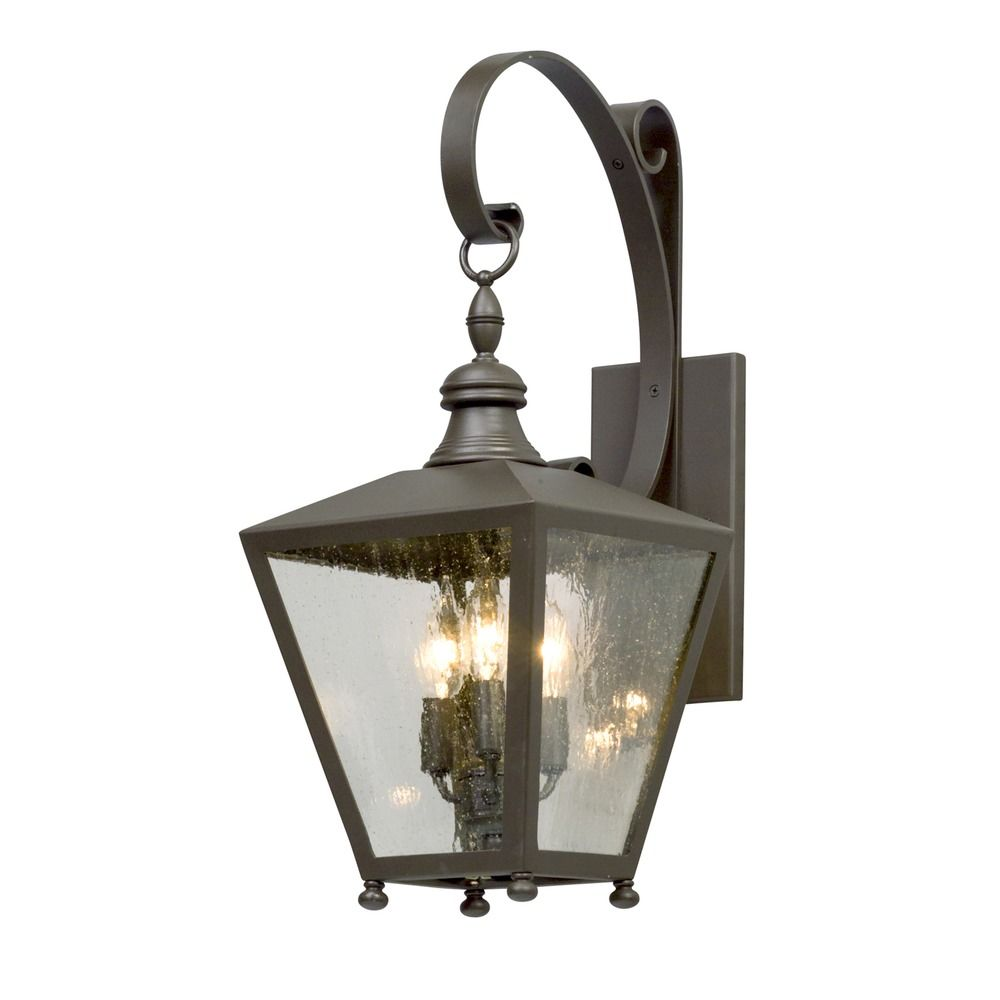 Seeded Glass Led Outdoor Wall Light Bronze Troy Lighting