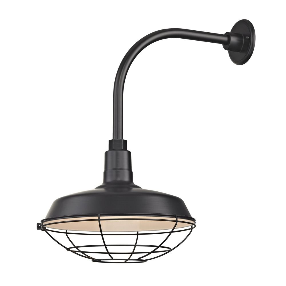 Black Outdoor Barn Wall Light with Gooseneck Arm and 14