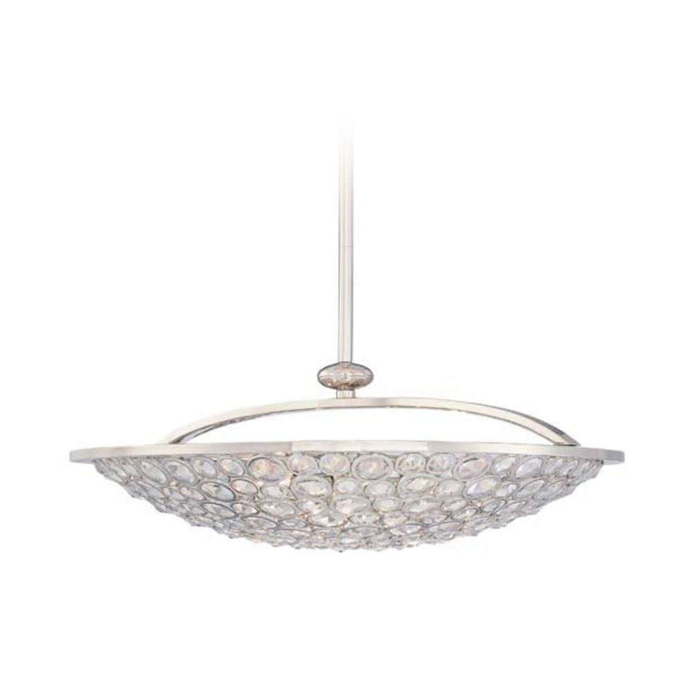 Crystal bowl pendant light in polished nickel finish 5 lights hover or click to zoom aloadofball Image collections
