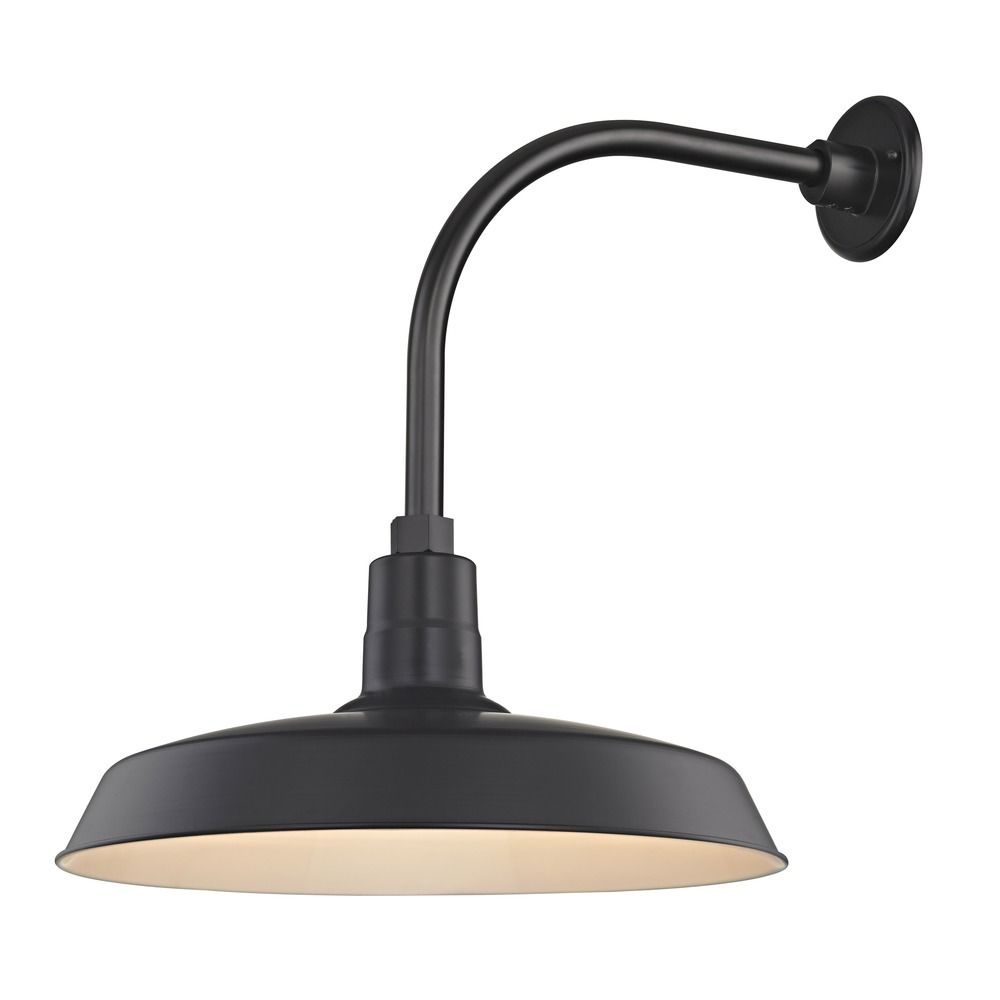 Barn Light Outdoor Wall Light Black With Gooseneck Arm 18