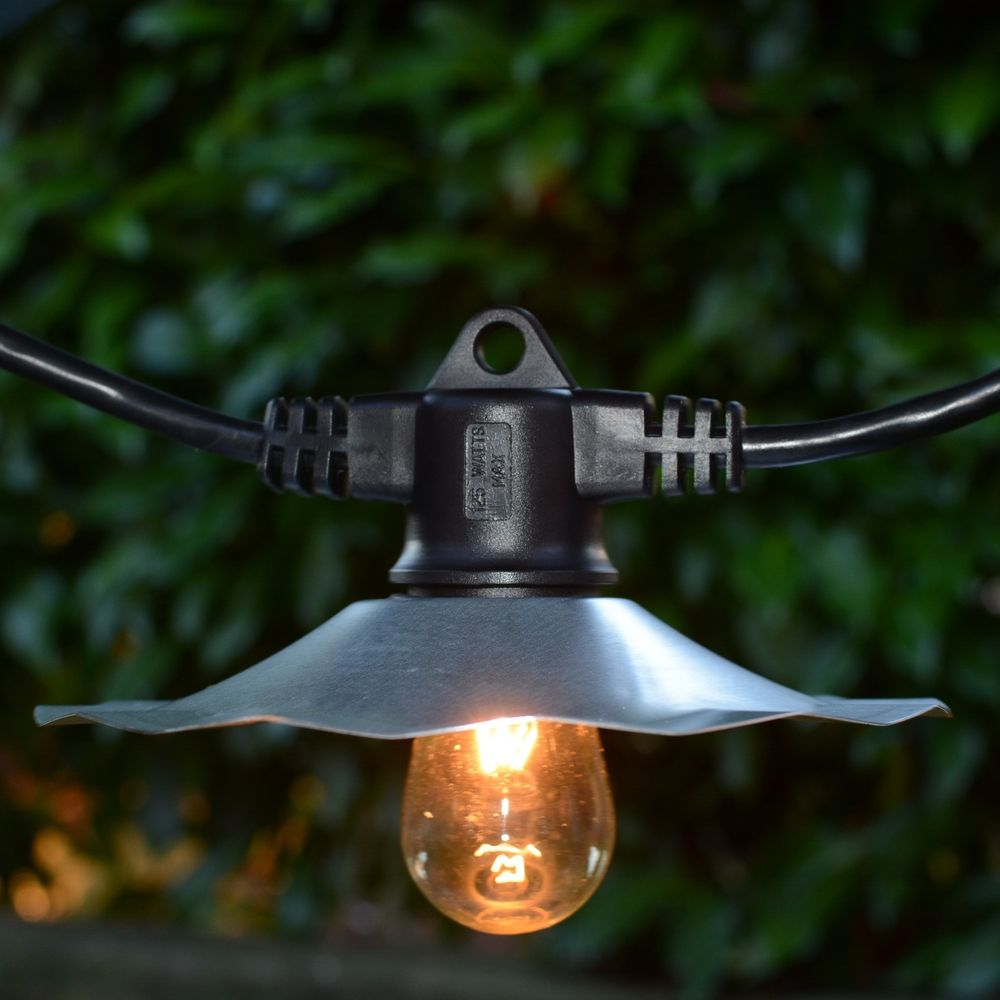 String Lights with Galvanized Shades and 7 Light Bulbs - 35FT Long eBay