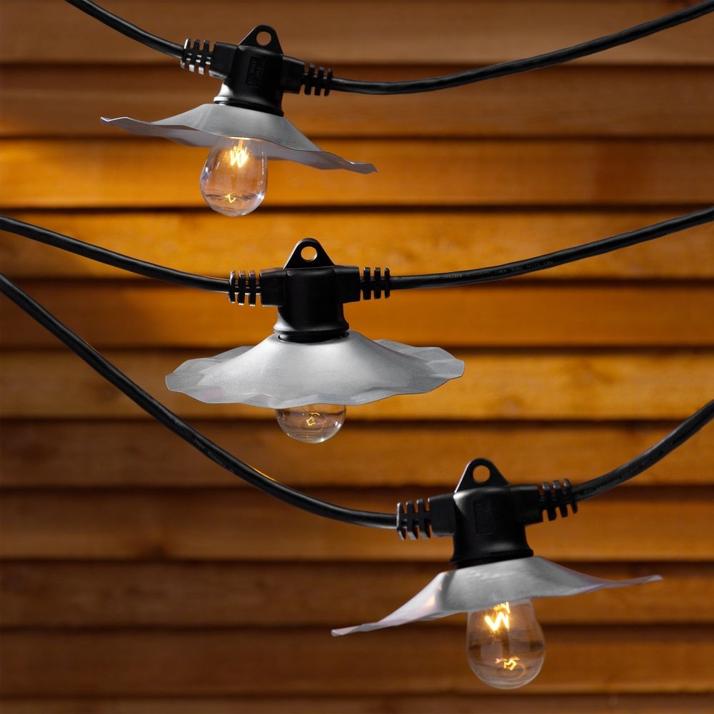 String lights with galvanized shades and 7 light bulbs 35ft long product image workwithnaturefo