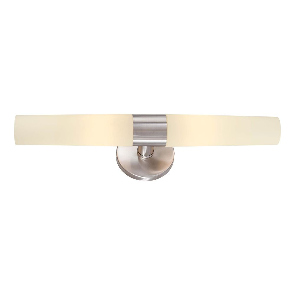 Saber brushed stainless steel bathroom light vertical or horizontal mounting p5042 144 for Stainless steel bathroom lights