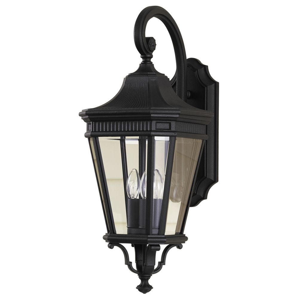 Murray Feiss Ol5402bk: Outdoor Wall Light With Clear Glass In Black Finish