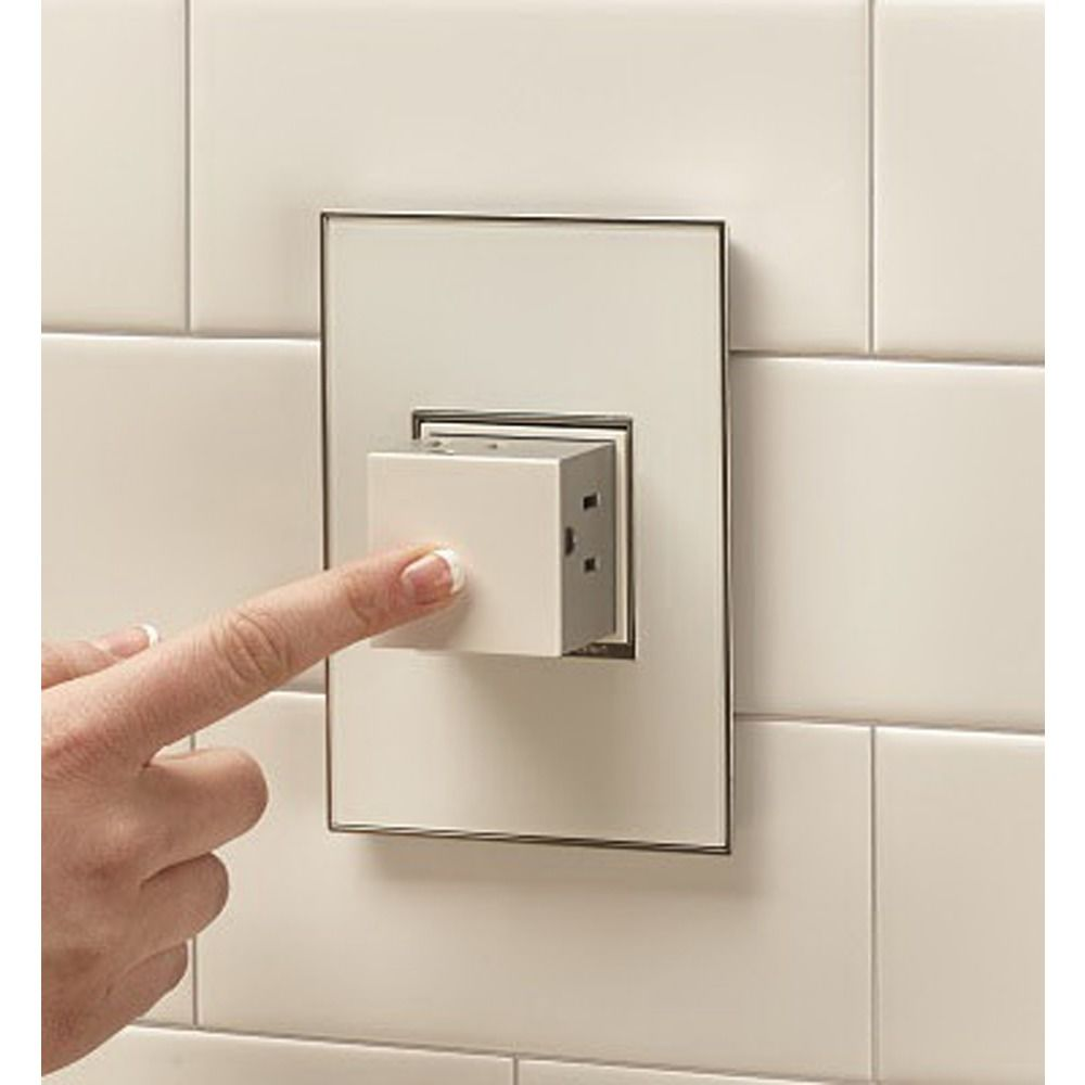 Pop Out White Wall Power Outlet Single Gang